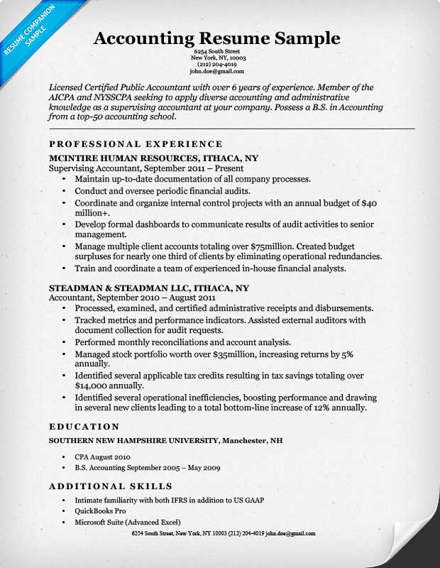 Accounting Resume Example  Sample Professional Summary Resume