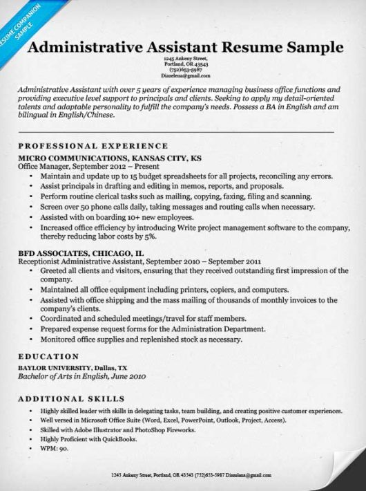 administrative assistant resume sample - Sample Administrative Resumes