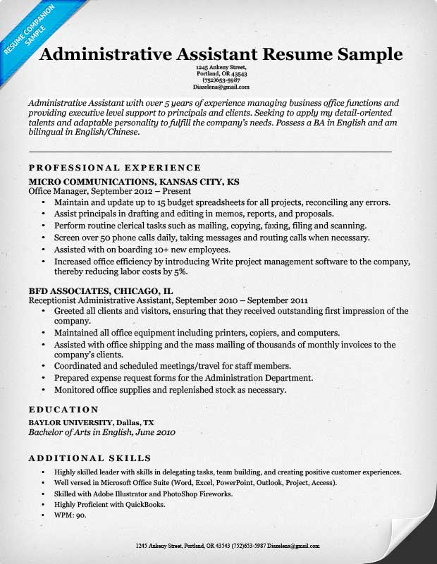 Administrative Assistant Resume Sample  Resume Sample Word