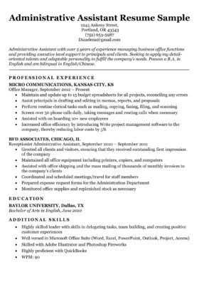 Administrative Assistant Sample