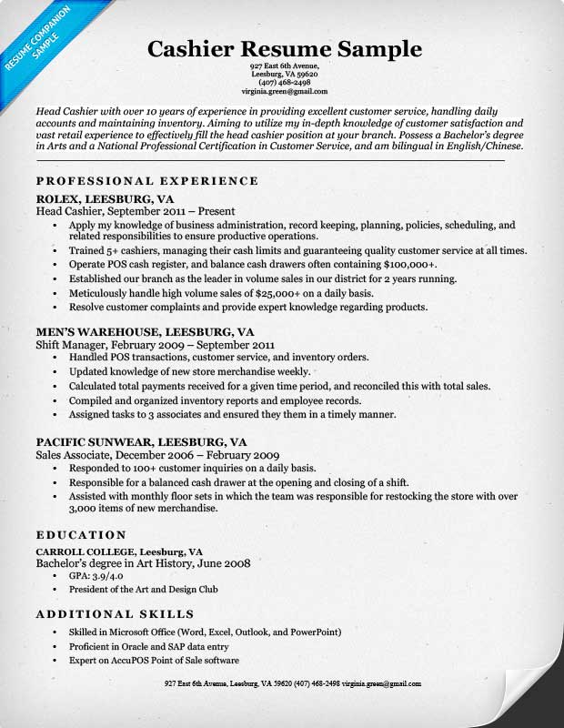 Resume Objective Example Ingyenoltoztetosjatekok In Resume. Cashier Resume  Sample Resume Companion