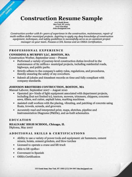 resume sample for construction worker