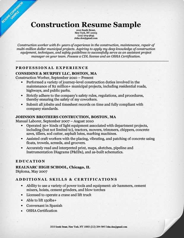 Construction Resume Example  Project Manager Construction Resume