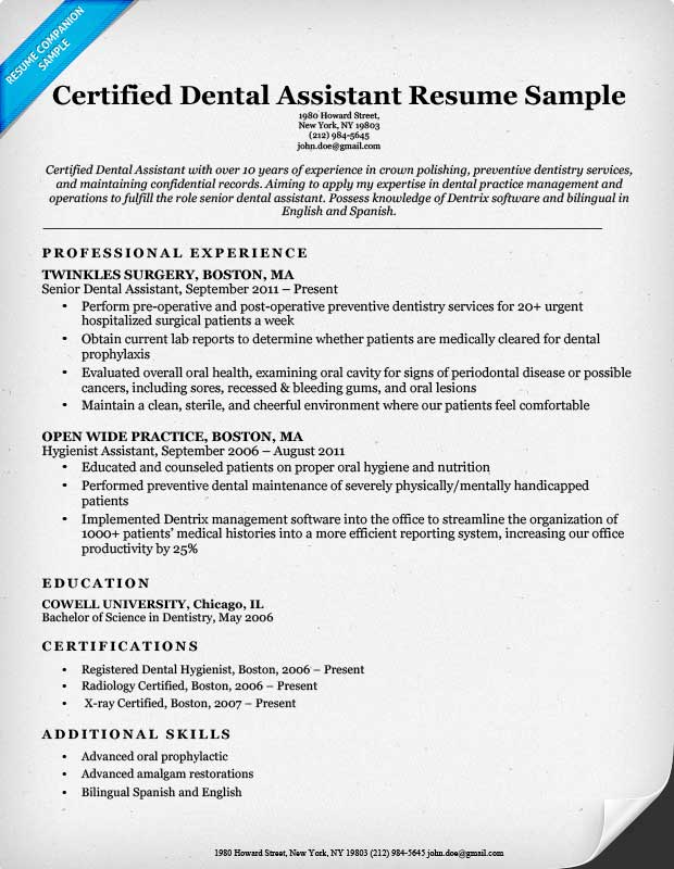 dental assistant resume sample - Dental Resumes Samples