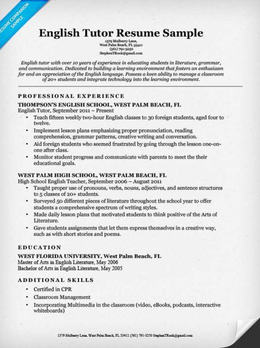 Preschool Teacher Resume Sample  Writing Tips  Resume Companion