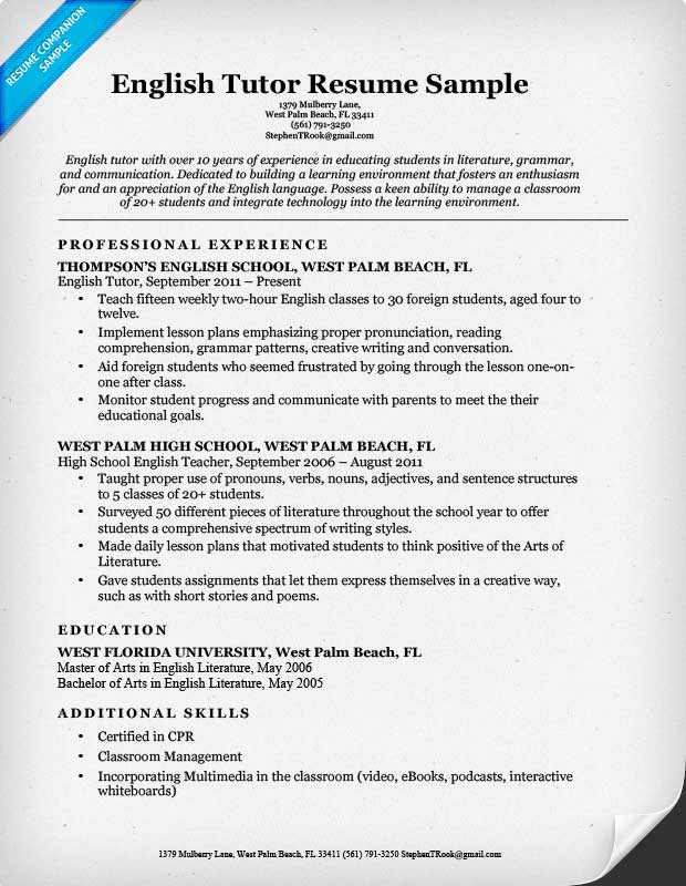 english tutor resume - Sample Resume Objectives Tutor