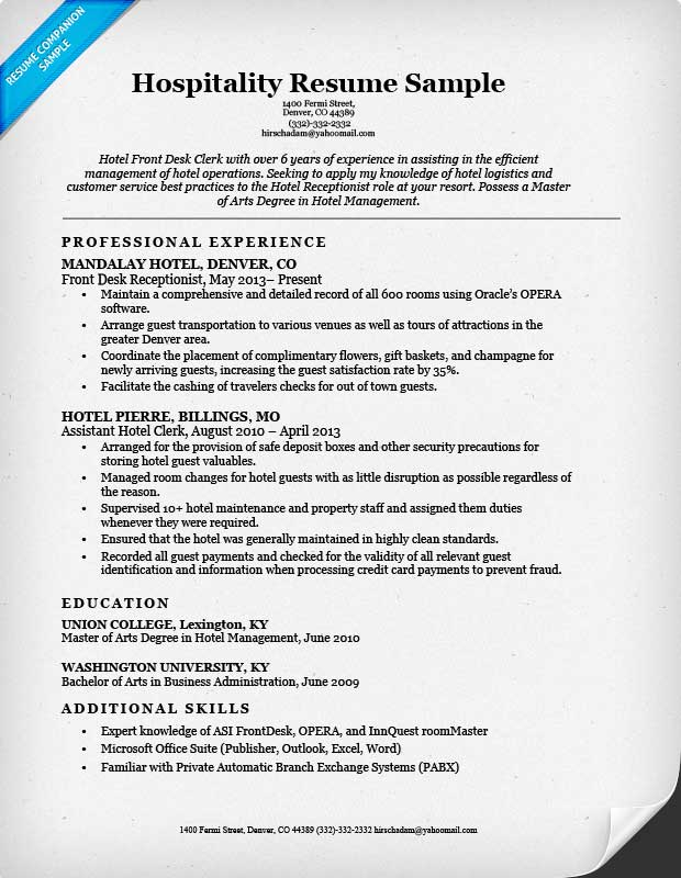 Hospitality Front Desk Resume Sample  Resume Best Practices
