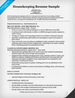 housekeeping resume example - Housekeeping Resume Samples