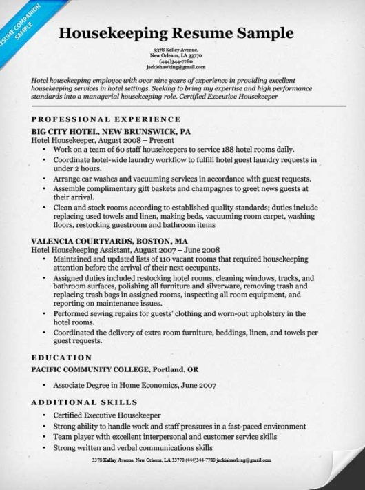 Housekeeping Resume Example Hotel