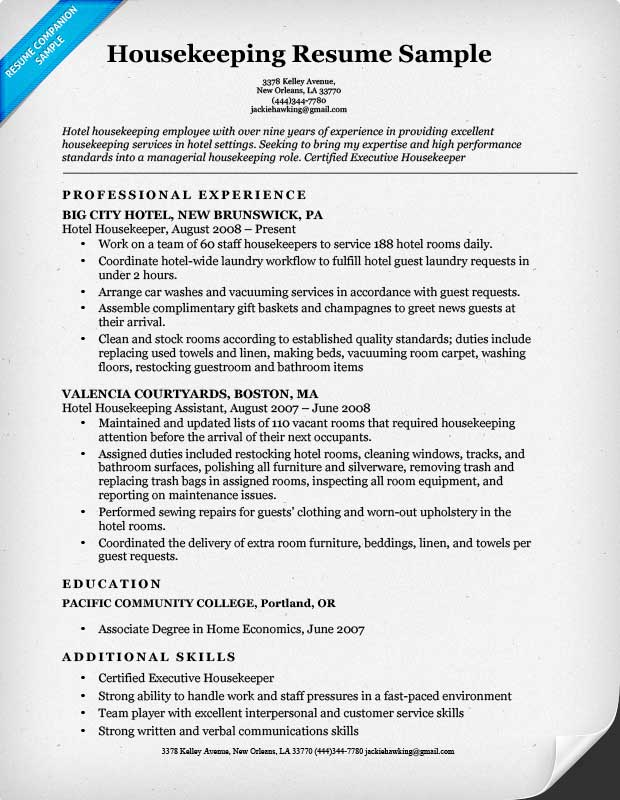 Housekeeping Resume Sample – Housekeeper Resume Examples