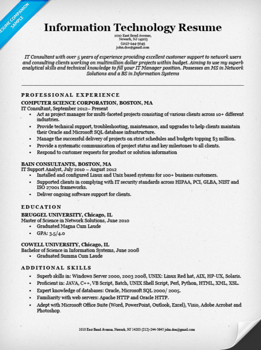information technology it resume example - It Sample Resumes