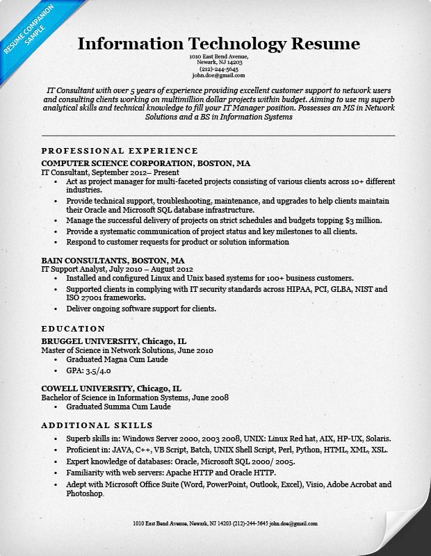 information technology it resume sample resume companion