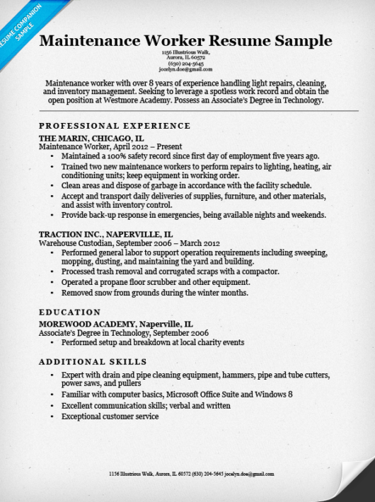 maintenance worker sample. Maintenance Worker Resume Sample