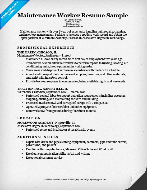 Maintenance Worker Sample  Free Basic Resume Examples
