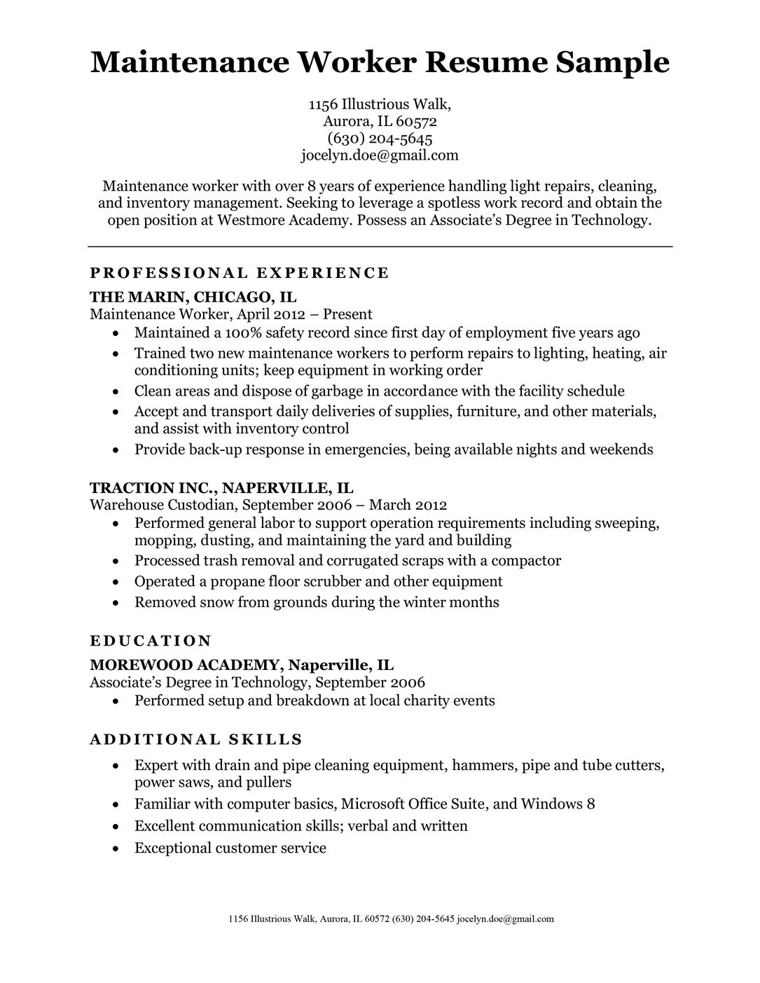 Maintenance worker resume sample