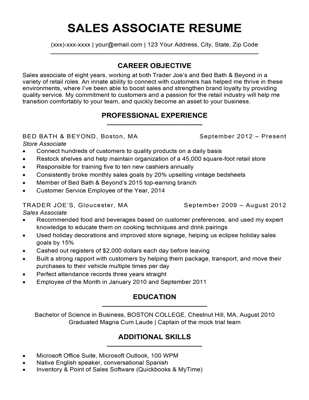 Sales Associate Resume Sample Writing Tips Resume Companion