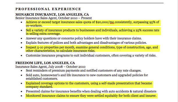 insurance-agent-resume-highlights