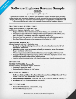software engineer resume example software engineer resume information technology - Information Technology Resume Template