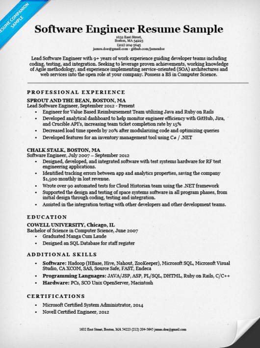 software engineer resume example resume companion sample - Certified Software Quality Engineer Sample Resume