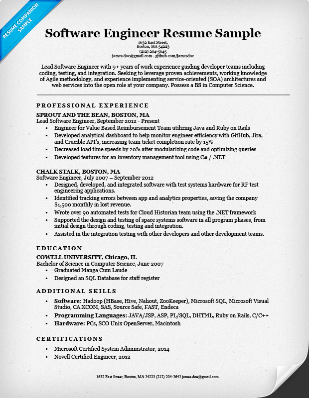 software engineer resume example - Sample Software Engineer Resume