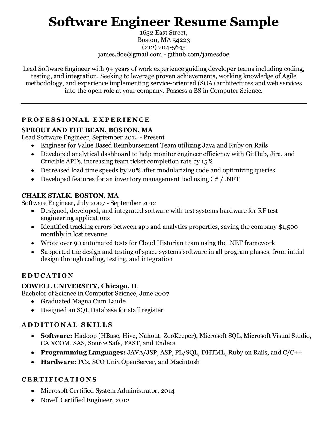 software engineer resume sample  u0026 writing tips