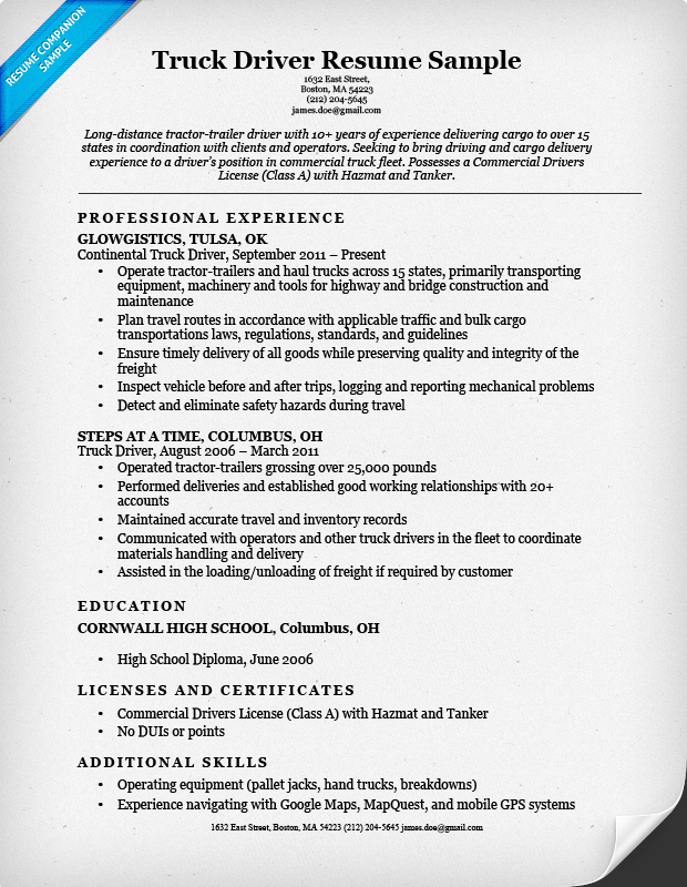 Wonderful Truck Driver Resume Example Within Truck Driver Resume Examples