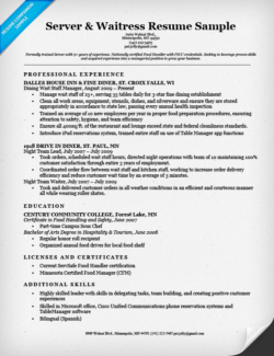 server waitress resume sample - Bartending Resume Samples