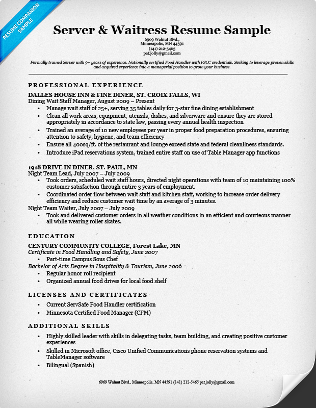 Server Waitress Resume Sample  Examples Of Server Resumes