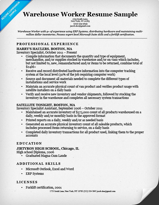 warehouse worker resume sample - Resume For Warehouse