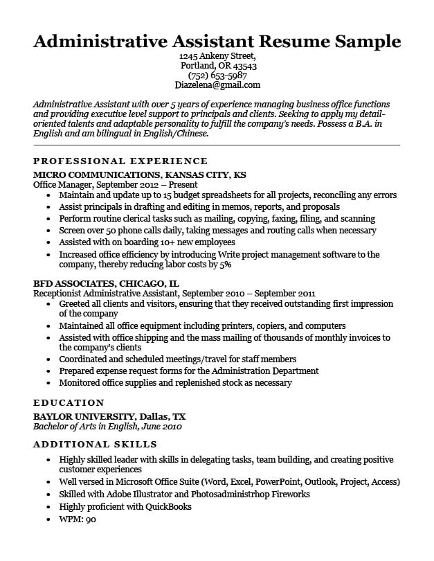 administrative assistant resume sample download