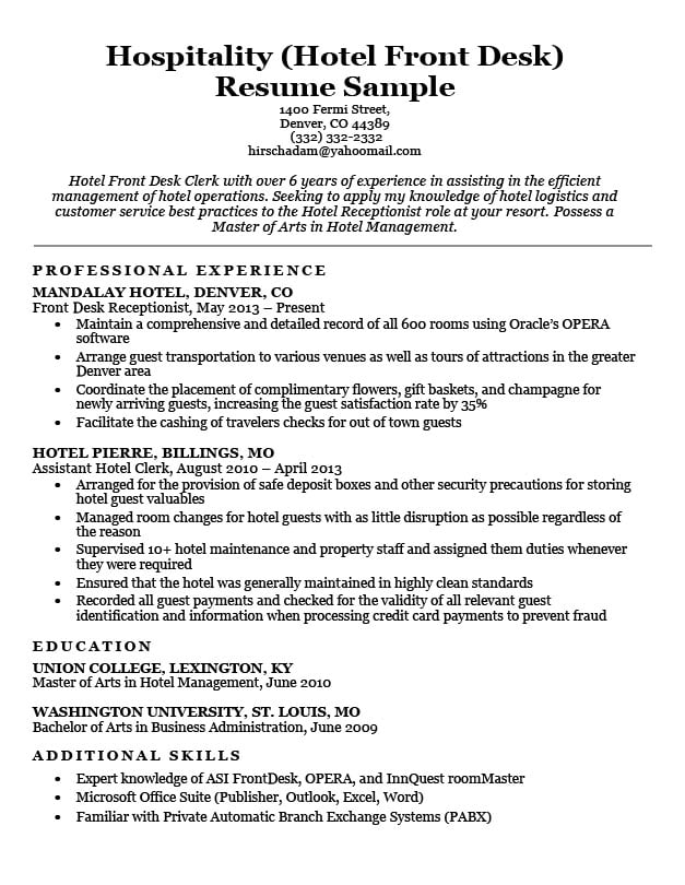 Hotel clerk resume sample resume companion hospitality hotel front desk resume sample download thecheapjerseys Gallery