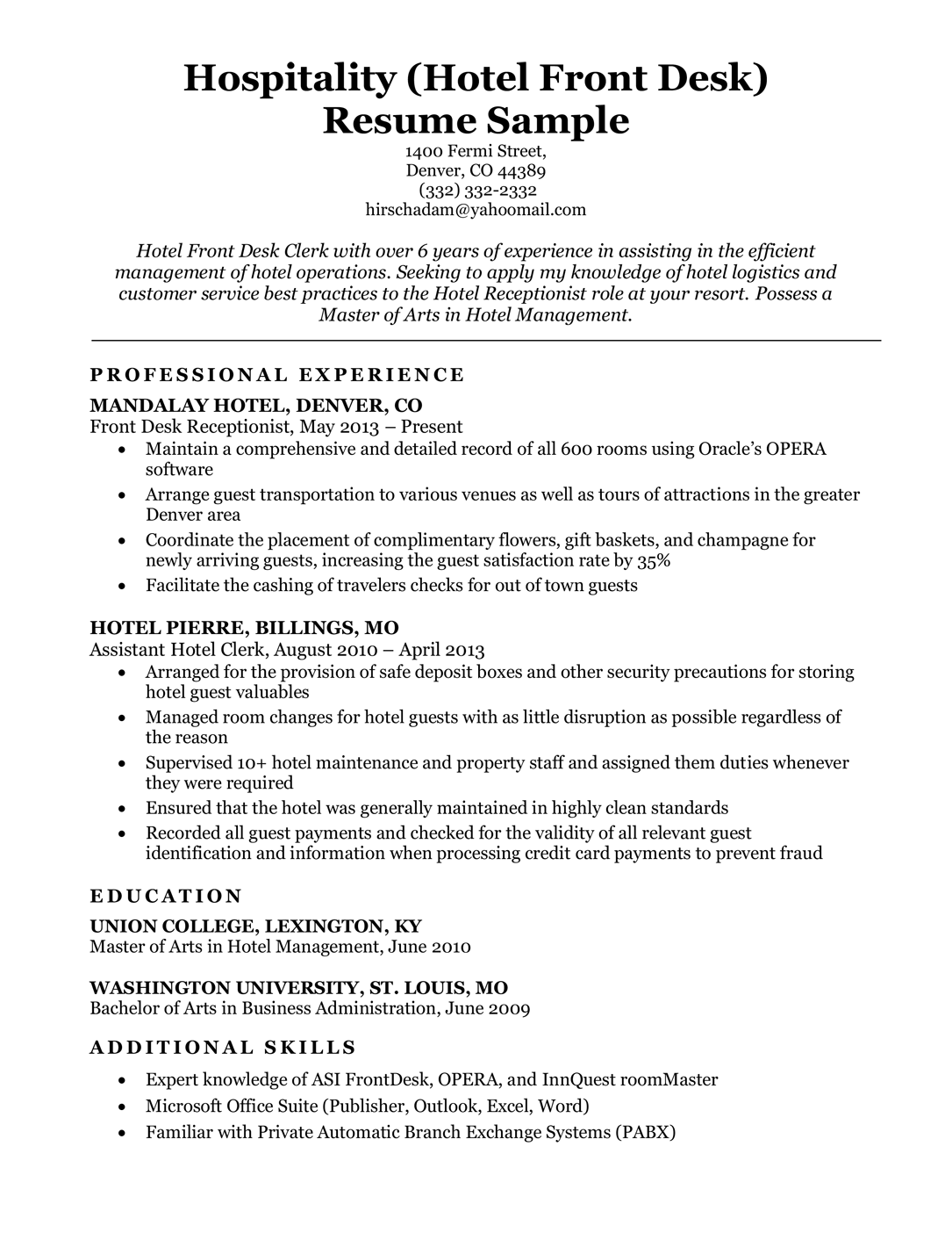 Hotel front desk resume sample