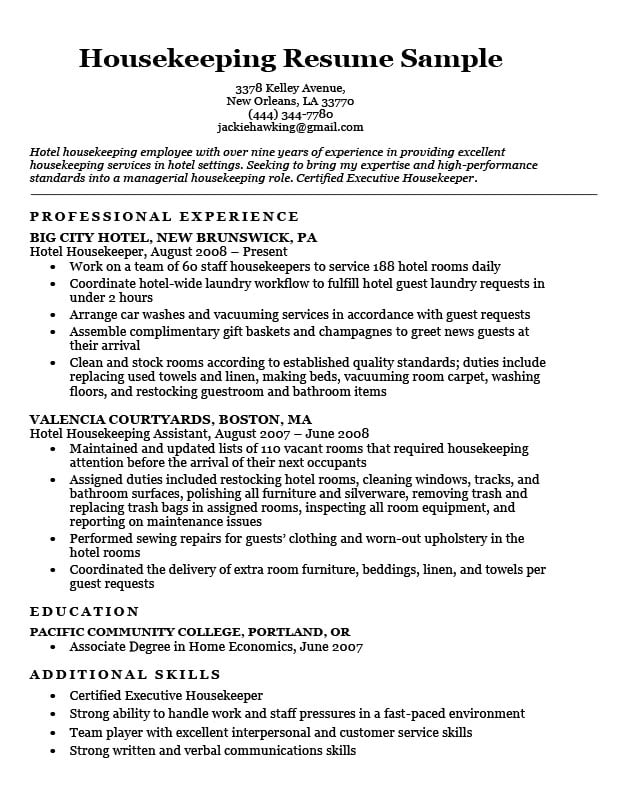 Sample Housekeeping Resume Vvengelbert Nl