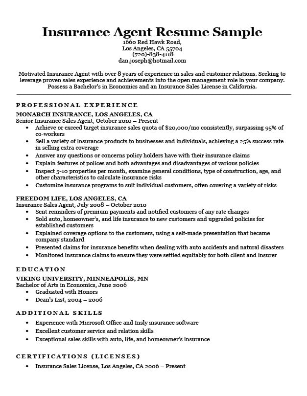 Insurance Agent Resume Sample Download