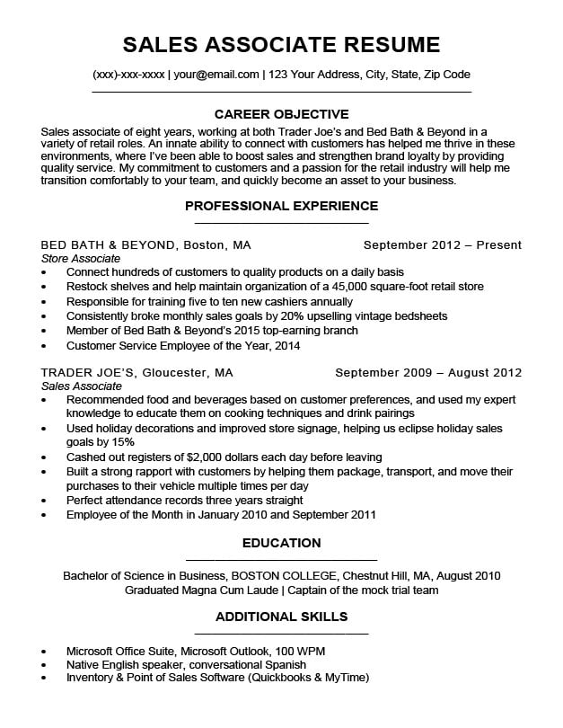 Sales Associate Resume Sample Download