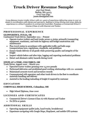 truck driver resume sample download