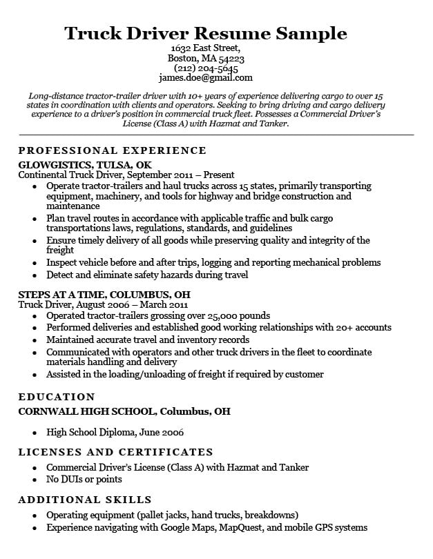Superior Truck Driver Resume Sample
