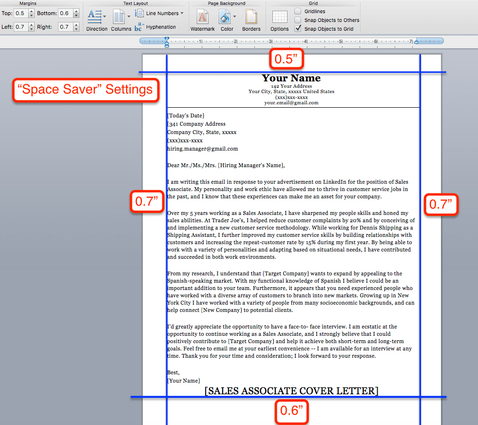 space saver cover letter settings - How To Make A Cover Letter