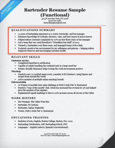 Captivating Bartender Qualifications Summary Inside Qualifications Summary For Resume