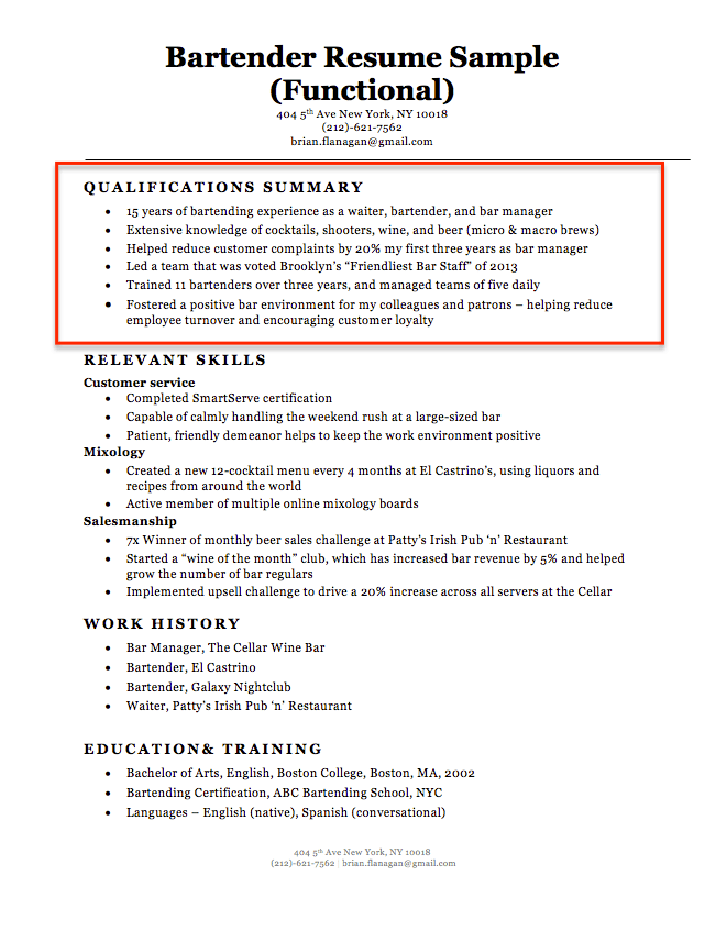 bartender-qualifications-summary-example Sample Curriculum Vitae Summary Letter on for accountant partner, science research, graduate school, for phd, for administrative assistant, for professional contract, medical doctor, offer letter,