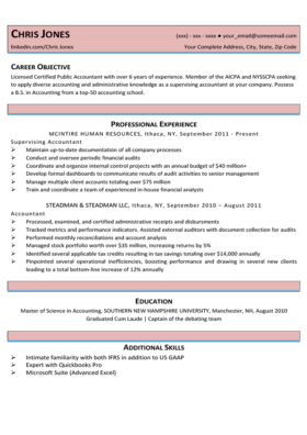 Coral Red Beginner Resume Template