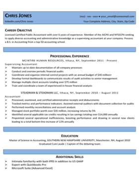 Sky Blue Beginner Resume Template