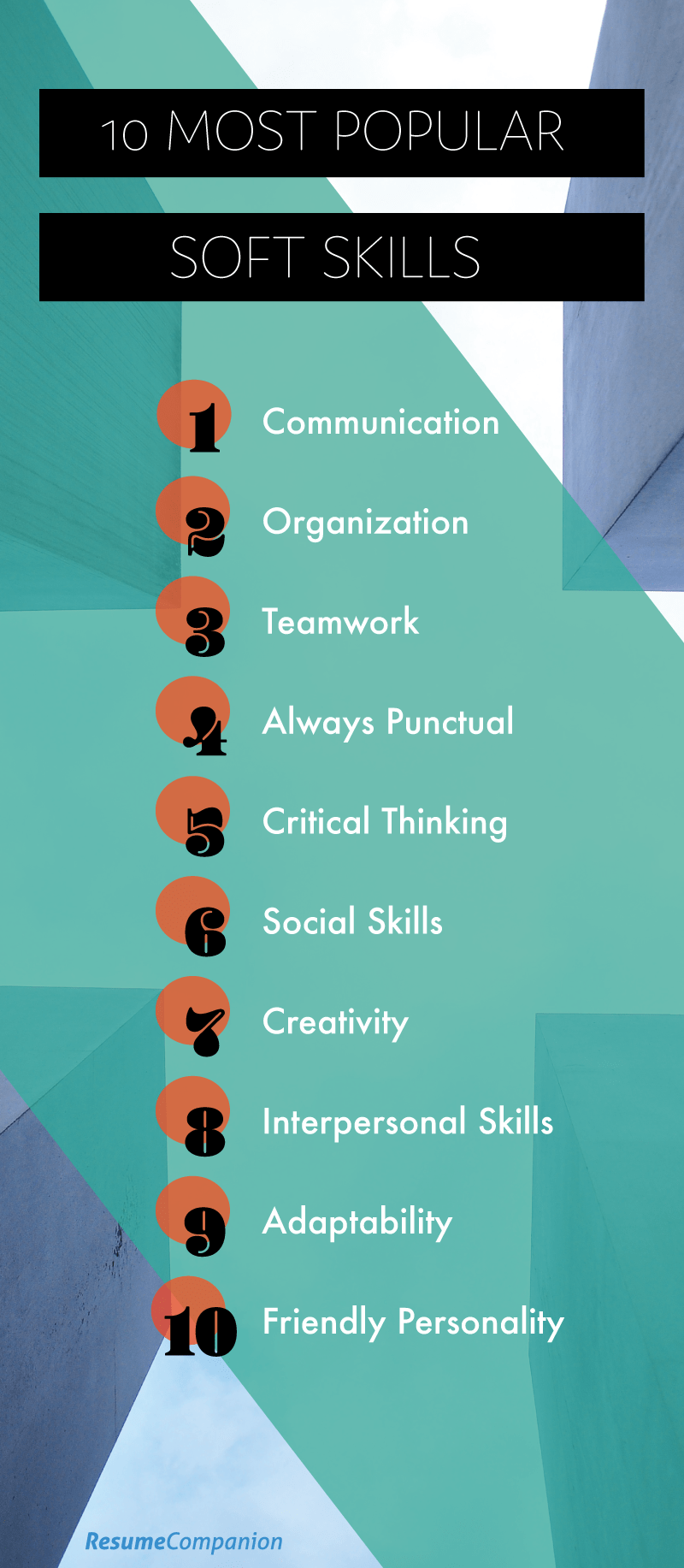 top 10 soft skills for a resume employers look for infographic - Resume Skills Section