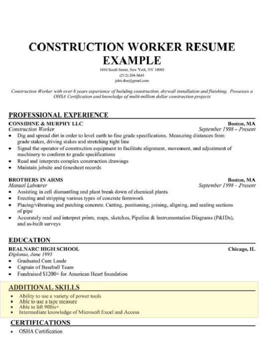 construction worker resume example - Sample Resume Skills Section