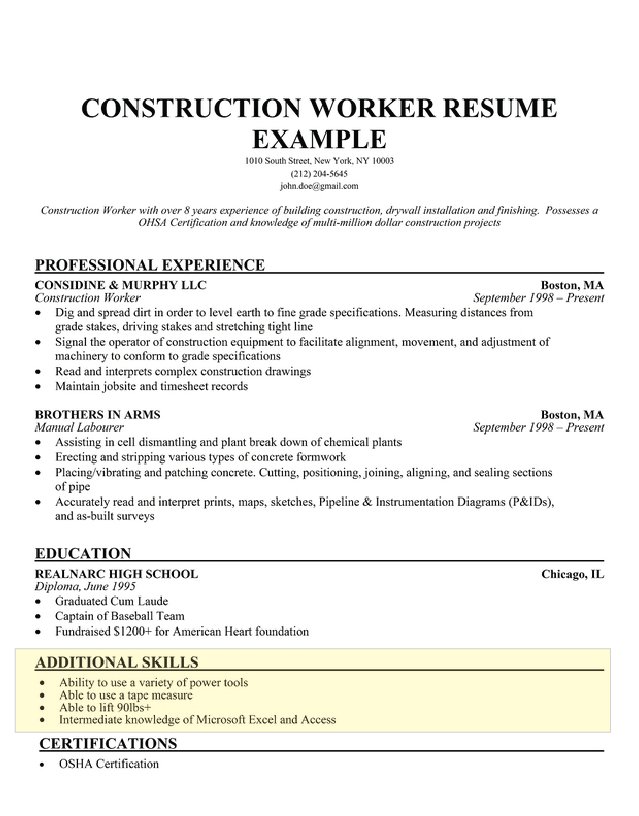 construction worker resume skills