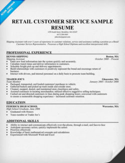 retail customer service resume sample - Chronological Sample Resume