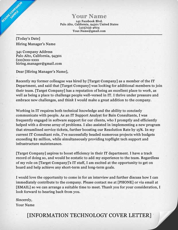 Information Technology IT Cover Letter Sample – IT Cover Letter