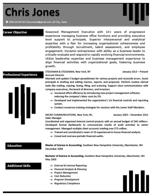 gmail cv template black white resume