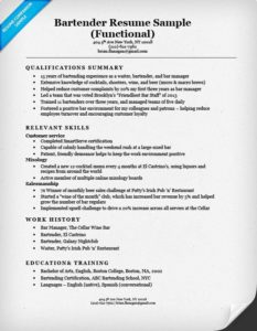 Functional Bartender Resume  How To Write Resume