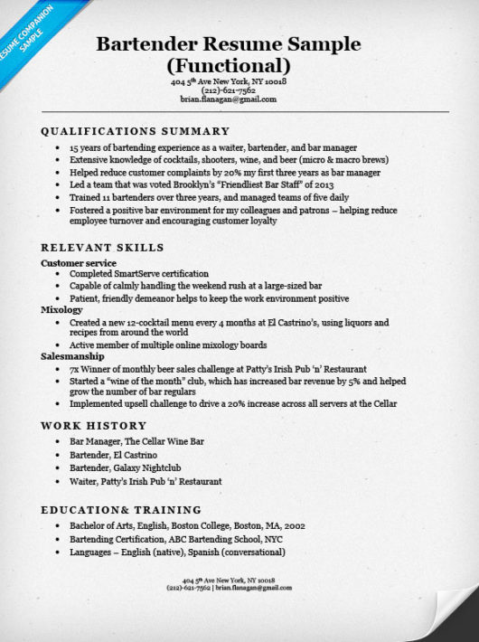 Bartender Resume Sample  Functional Resume Outline